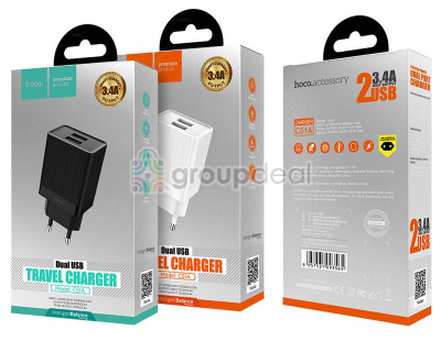 СЗУ HOCO C51A Prestige power dual port charger QC
